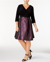 Alex Evenings Plus Size Brocade Faux-Wrap Dress