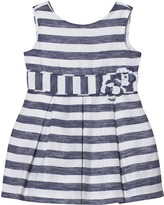 Mayoral Navy Stripe Bow Dress