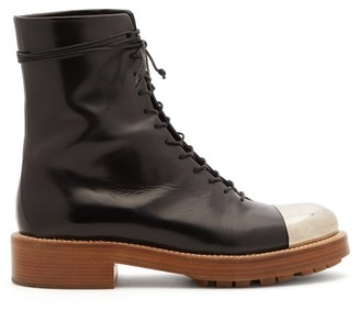 Gabriela Hearst Riccardo Metal Toe-cap Leather Boots - Black Silver