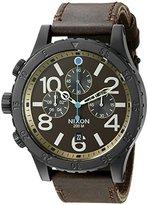 Nixon Men's A3632209 48-20 Chrono Leather Analog Display Japanese Quartz Brown Watch