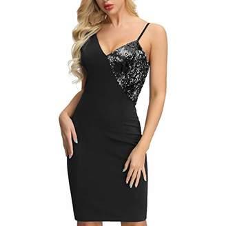 LIUMILAC Women's Deep V Neck Sleeveless Sequin Splice Bodycon Mini Dress (