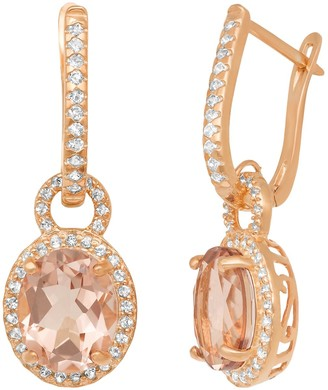 14k Rose Gold Over Silver Simulated Morganite and Lab-Created White Sapphire Oval Halo Drop Earrings