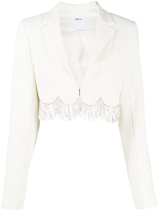 Area Embellished Scallop Hem Cropped Jacket