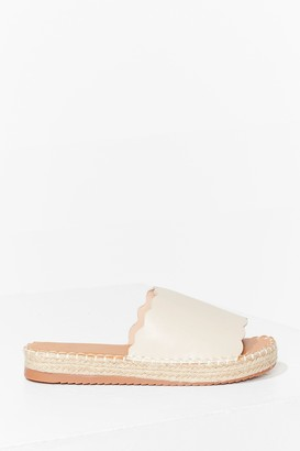 Nasty Gal Womens Just an Espadrille Faux Leather Sliders - Beige - 3