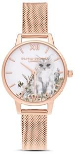 Olivia Burton Kitten & Floral Motif Watch, 30mm