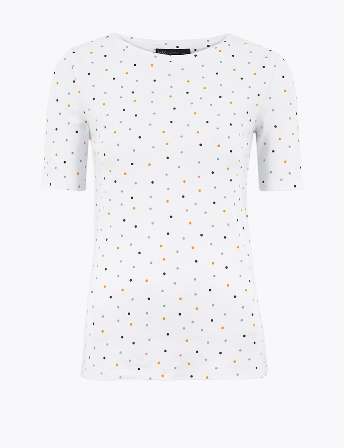 Marks and Spencer Pure Cotton Polka Dot Regular Fit T-Shirt
