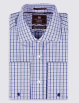 M&s Collection Luxury Pure Cotton Regular Fit Checked Shirt