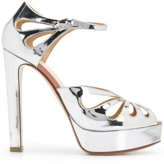 Francesco Russo Metallic-Print 130mm Platform Sandals