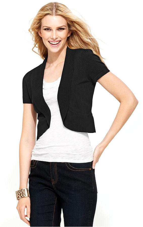 INC International Concepts Petite Cardigan, Cap-Sleeve Cutaway