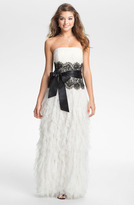 Jessica McClintock Ruffled Strapless Tulle Gown