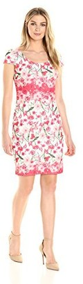 Sangria Women's Short Sleeve Floral Sheath Dress