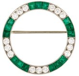 Art Deco Diamond & Emerald Circle Brooch