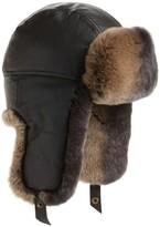 Crown Cap Men's Leather Trapper Hat With Genuine Rabbit Fur - Black