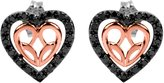 Jessica Simpson Sterling Silver 10K Rose Gold Diamond Earrings