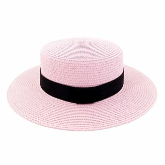 M.J.Z Hats Summer New Outdoor Travel Jazz Straw Hat Sun Hat Visor Beach Hat Women Black Belt with Solid Color Hat Flat Cap M.J.ZUR (Color : Pink Size : 56-58CM)