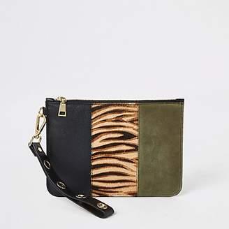 River Island Black zebra print leather pouch clutch bag