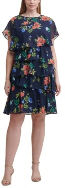 Jessica Howard Plus Size Floral-Print Tiered Dress