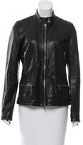 Vince Mock Neck Leather Jacket