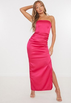 Missguided Pink Satin Split Structured Bandeau Maxi Dress