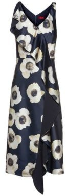 HUGO BOSS Oversized Floral Print Sleeveless Dress With Cascading Volant - Patterned