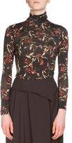 Balenciaga Long-Sleeve Floral-Print Turtleneck Top