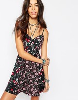 Band of Gypsies Skater Dress In Floral Panel Print