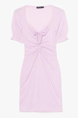 Nasty Gal Womens Fret Knot Tie Front Mini Dress - Lilac
