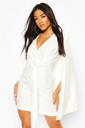 boohoo Cape Sleeve Blazer Bodycon Dress