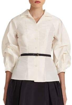 Carolina Herrera Icon Collection Silk Blouson Blouse