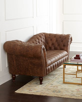 Horchow Oak Leather Recamier Sofa