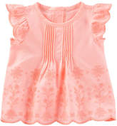 Osh Kosh Oshkosh Round Neck Short Sleeve Blouse - Baby Girls
