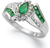 Macy's Precious Gemstone (1-1/5 ct. t.w.) and Diamond Accent Ring in Sterling Silver (in Ruby or Emerald)
