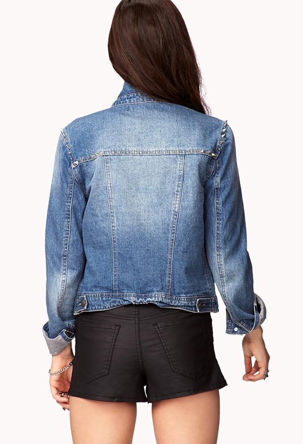 Forever 21 Spiked Denim Jacket