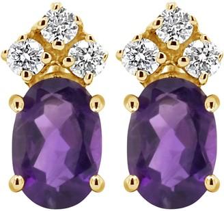 14K Gemstone & 1/10 cttw Diamond Earrings