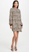 ATM Anthony Thomas Melillo Leopard Print Bishop Sleeve Mini Dress