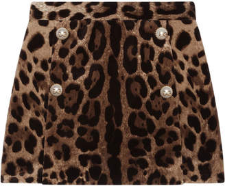 Dolce & Gabbana Girl's Leopard Print Velvet Skirt, Size 8-12