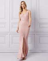 Le Château Metallic Knit & Sequin V-Neck Gown