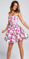 Ellie Wilde for Mon Cheri Strapless Floral Fit And Flare Cocktail Dress