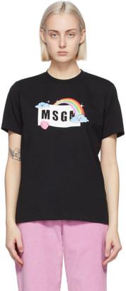 MSGM Black Rainbow Logo T-Shirt