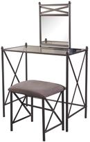 Linon Home Décor Mission Hills Neutral Microfiber Glass Top Vanity Set in Metal