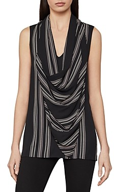 BCBGMAXAZRIA Striped Cowl Neck Top