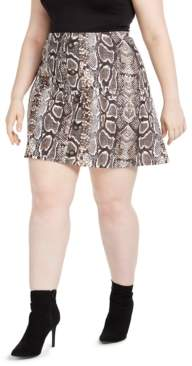 Planet Gold Trendy Plus Size Printed Skater Skirt