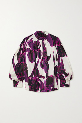 Dries Van Noten Floral-print Silk-satin Blouse - Purple