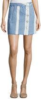 3x1 Higher Ground Pinto Stripe Denim Mini Skirt, Blue