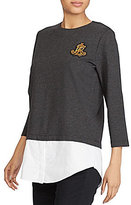 Lauren Ralph Lauren Petite Layered Bullion-Crest Top