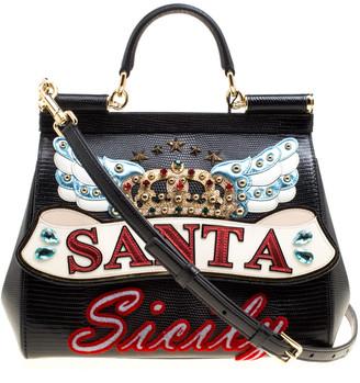 Dolce & Gabbana Black Leather Medium Sicily Santa Top Handle Bag