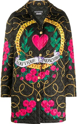 Boutique Moschino Logo Quilted Coat