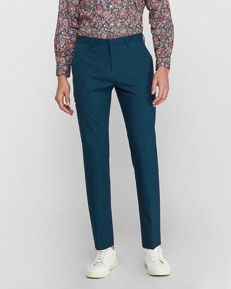 Express Slim Turquoise Cotton-Blend Suit Pant