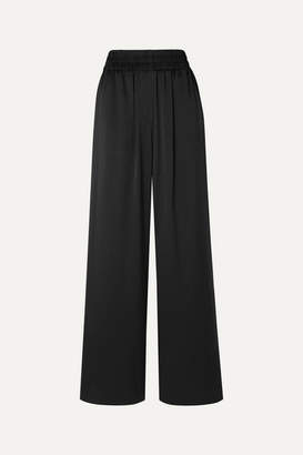Burberry Mulberry Silk-satin Wide-leg Pants - Black