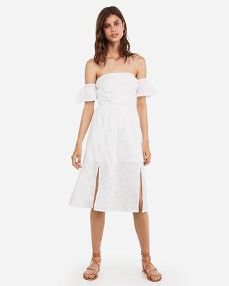 Express Eyelet Lace Off The Shoulder Midi Dress